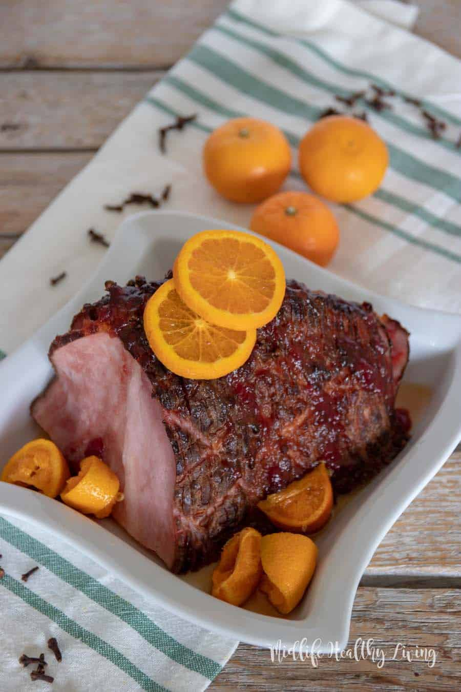 ThisWeight Watchers citrus and cranberry hamis a snapto make.There are 5 Weight Watchers FreestyleSmart Pointsin each serving of this delicious ham.