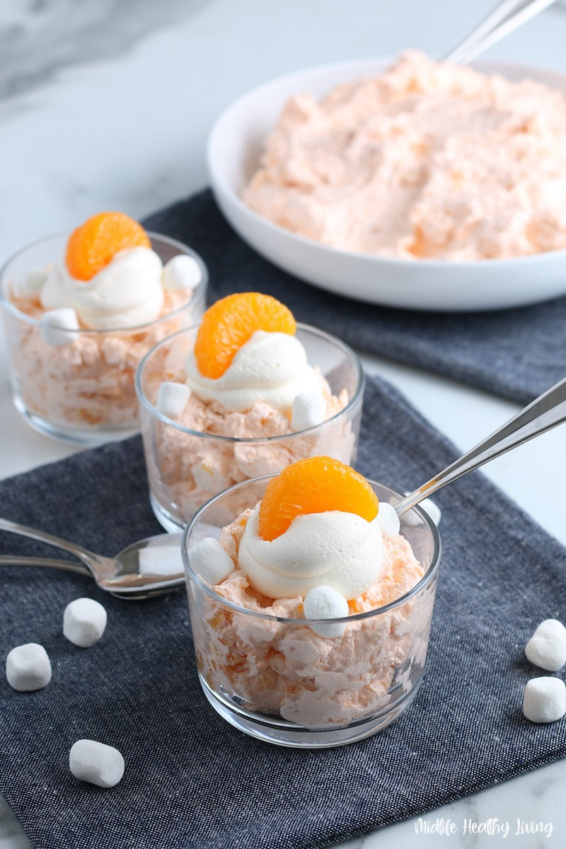 Finished recipe ready to eat weight watchers orange fluff dessert.