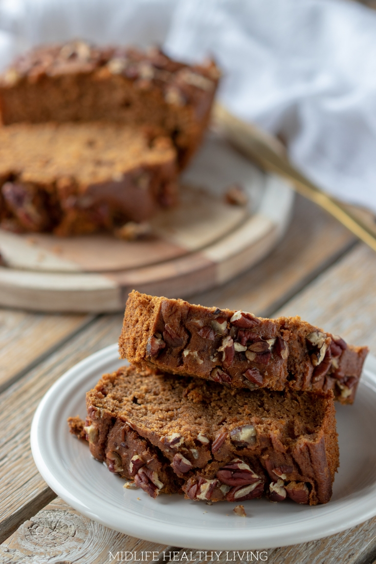 This Weight Watchers Spiced Pecan Bread is so delicious and easy to make. It comes out perfectly every time! Try out this easy quick bread recipe today!