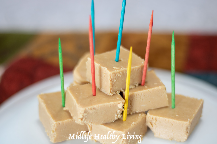 Finished peanut butter fudge with picks ready to be served.