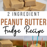 Pin showing the finished 2 ingredient peanut butter fudge recipe ready to eat.