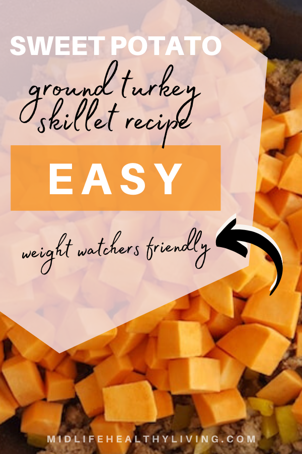 ground turkey sweet potato skillet pin image.