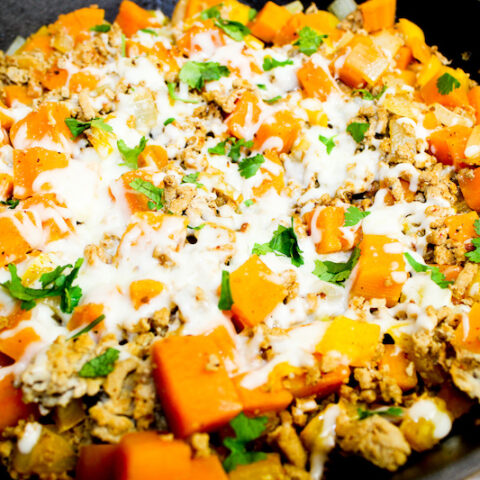 Featured image showing the finished weight watchers ground turkey sweet potato skillet meal ready to serve.