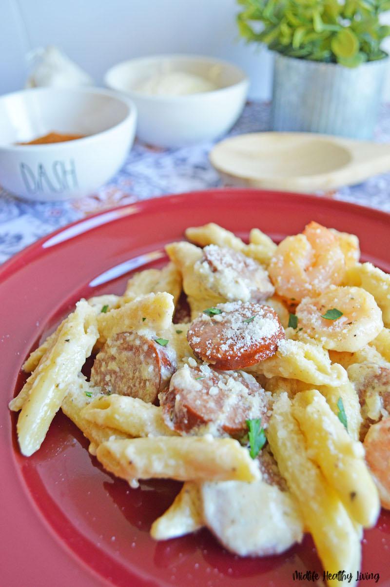 Finished cajun shrimp pasta dinner ready to eat.