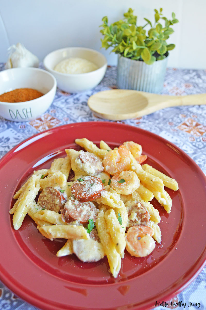 a look at the finished cajun shrimp pasta recipe ready to eat.