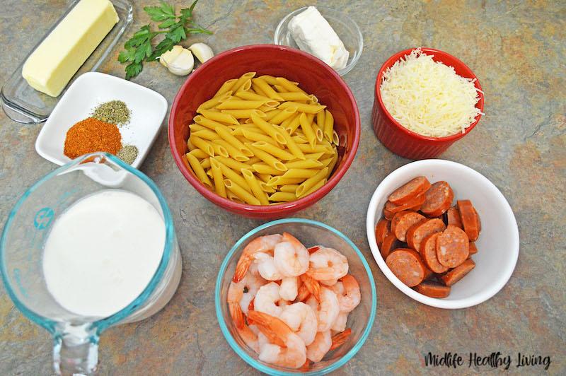 Ingredients needed to make cajun shrimp pasta