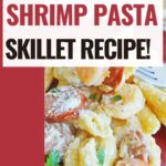 pin showing the finished cajun shrimp pasta recipe ready to eat.