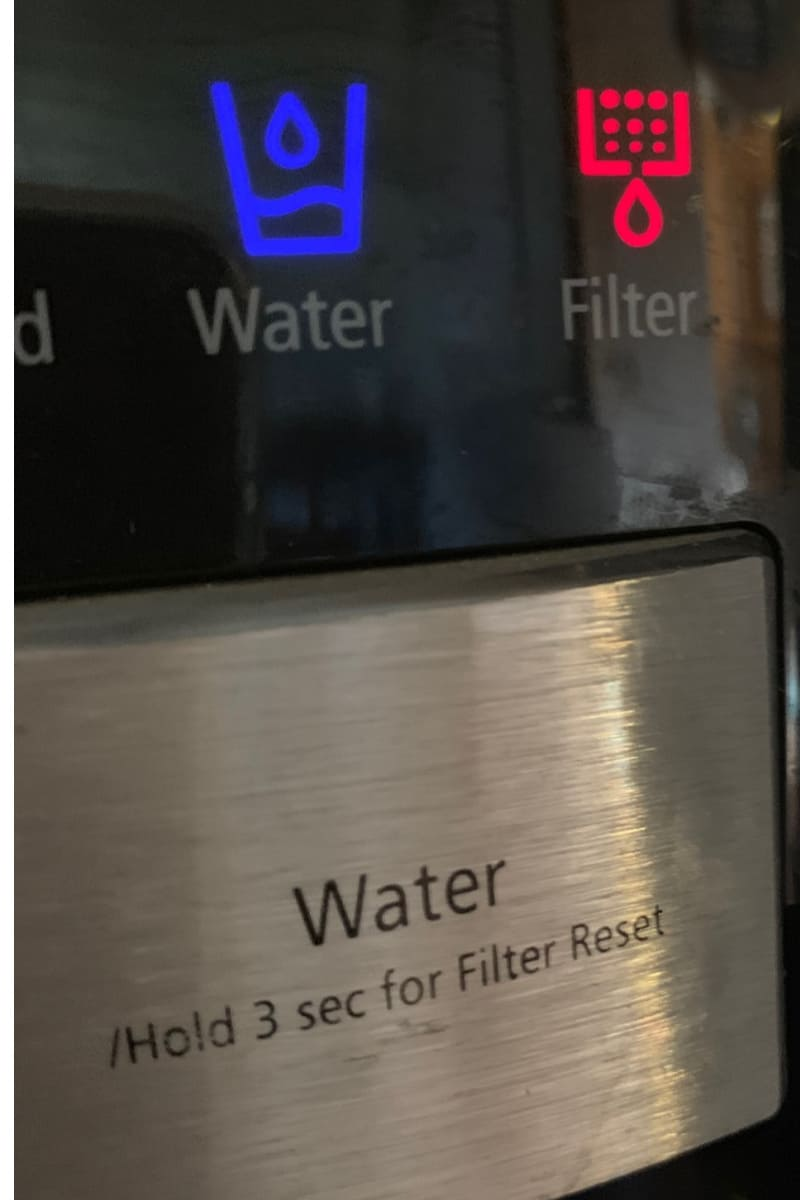 Water Filter lights on a refrigerator.