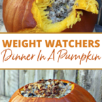 pin showing the finished weight watchers dinner in a pumpkin