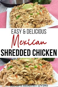 Pin for Mexican shredded chicken recipe.