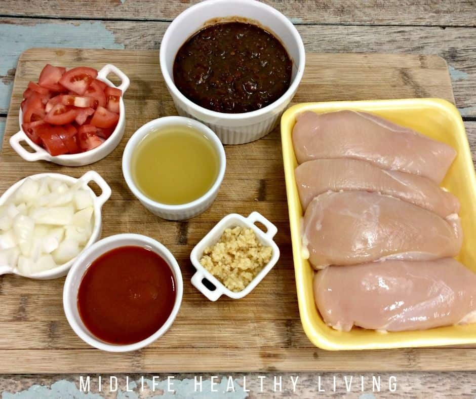 Ingredients for Mexican chicken recipe.