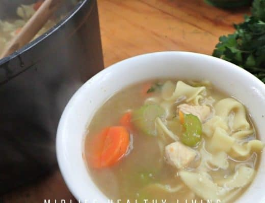 Close up shot of the finished chicken noodle soup recipe.