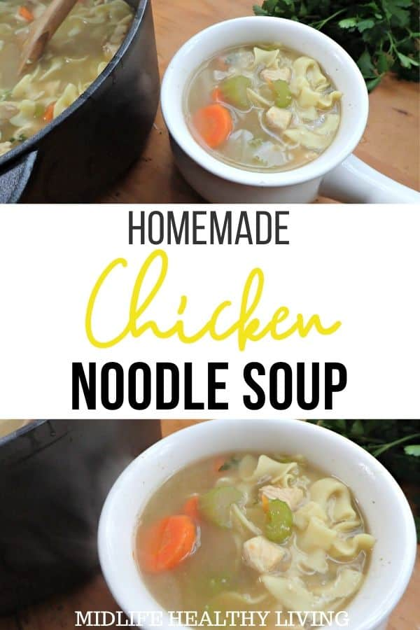 Pin for chicken noodle soup recipe.