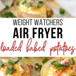 Pin showing the title and the finished air fryer baked potatoes in the background.