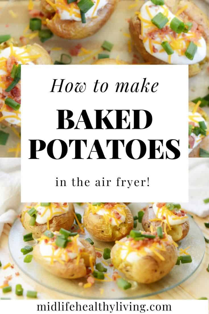 Another beautiful pin showing the delicious air fryer baked potato in the background with toppings.