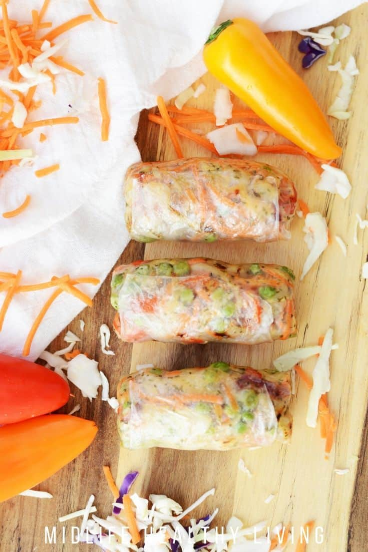 Top down photo of the completed spring rolls with shrimp