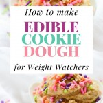 A colorful pin showing the finished edible cookie dough recipe ready to eat.