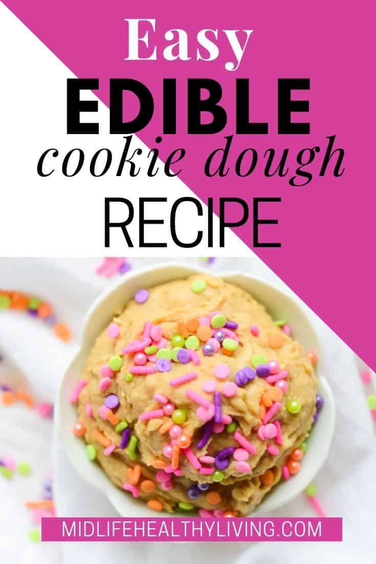 A final pin showing off the title and the gorgeous finished cookie dough recipe.