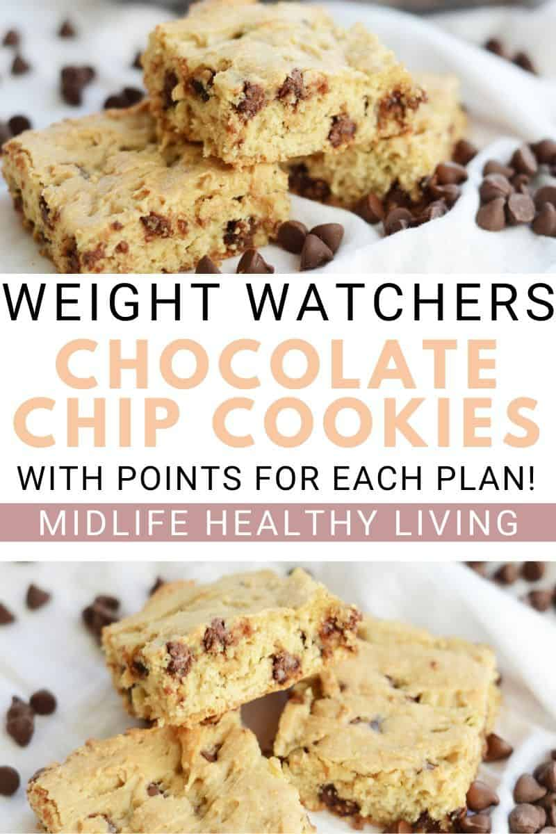 A pin for Weight Watchers chocolate chip cookies with title in the middle and photos on top and bottom of finished cookie recipe.