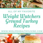 Pin showing the ground turkey recipes and the title for the landing page in the middle.