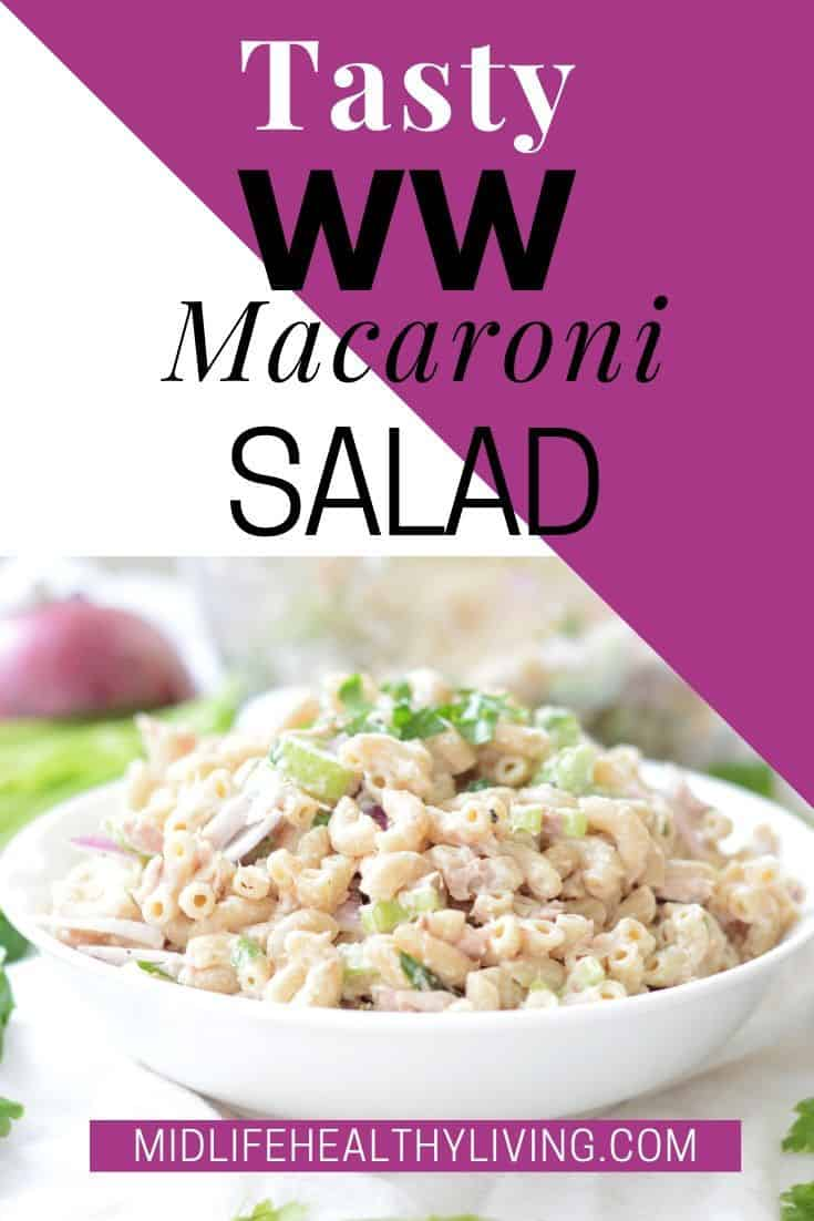 Weight Watchers Macaroni Salad Recipe with title and finished image.