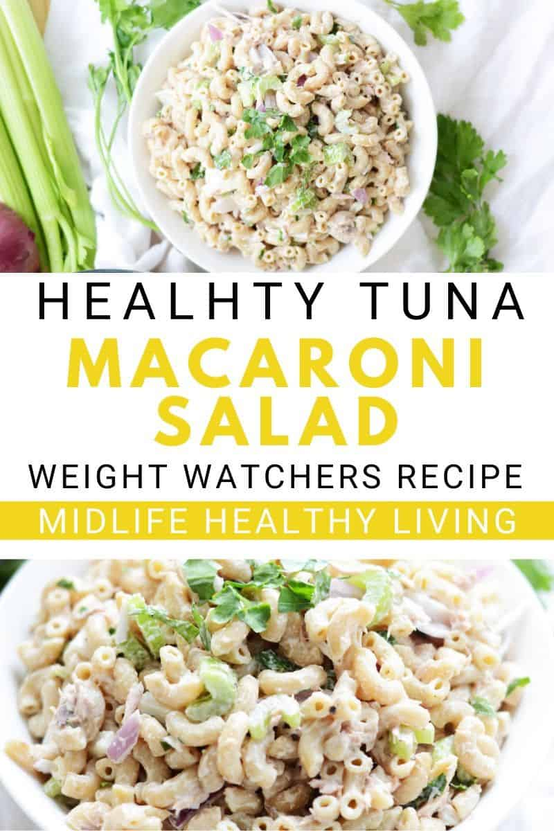 pin showing the finished weight watchers macaroni salad recipe
