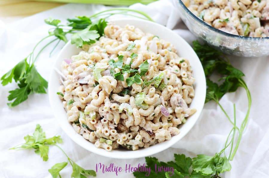 A horizontal view of the completed recipe for weight watchers macaroni salad with tuna