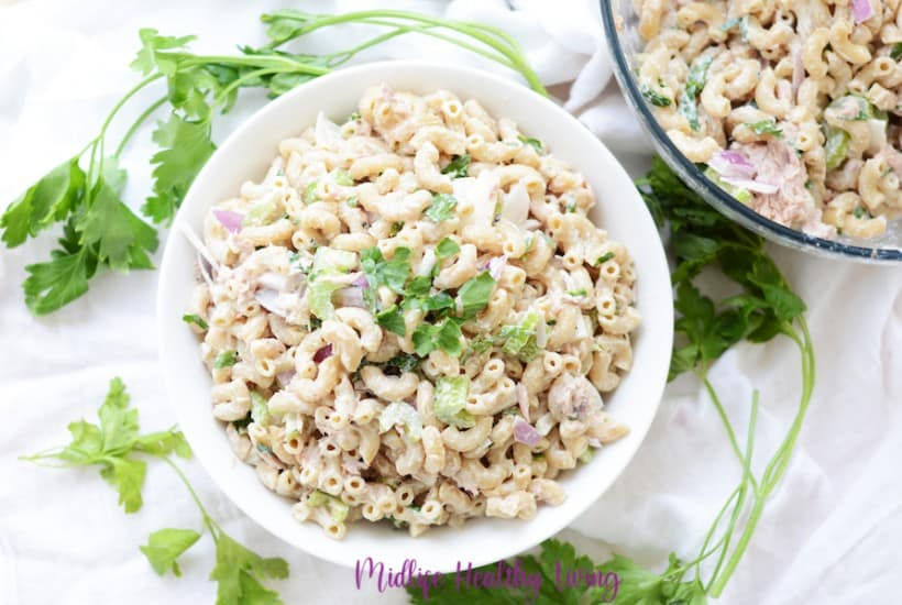 A top down look at the full bowl of weight watchers macaroni salad recipe with tuna