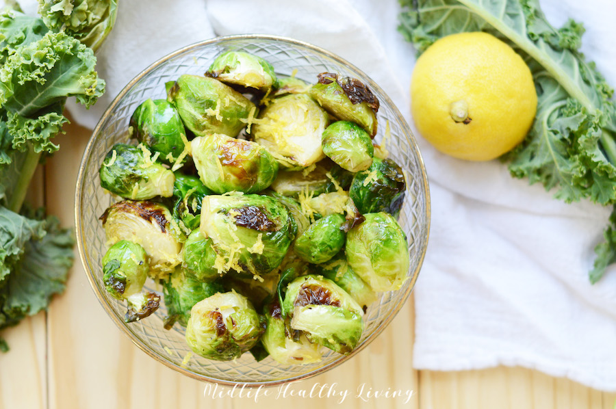 A horizontal view of the completed recipe for air fried Brussels sprouts.