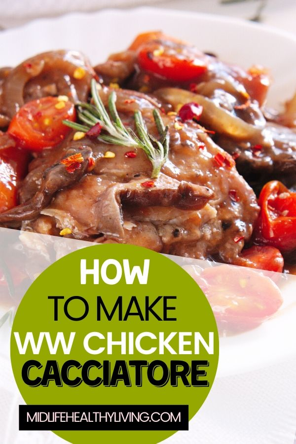 A final pin showing the finished recipe for chicken cacciatore and the title in the corner.