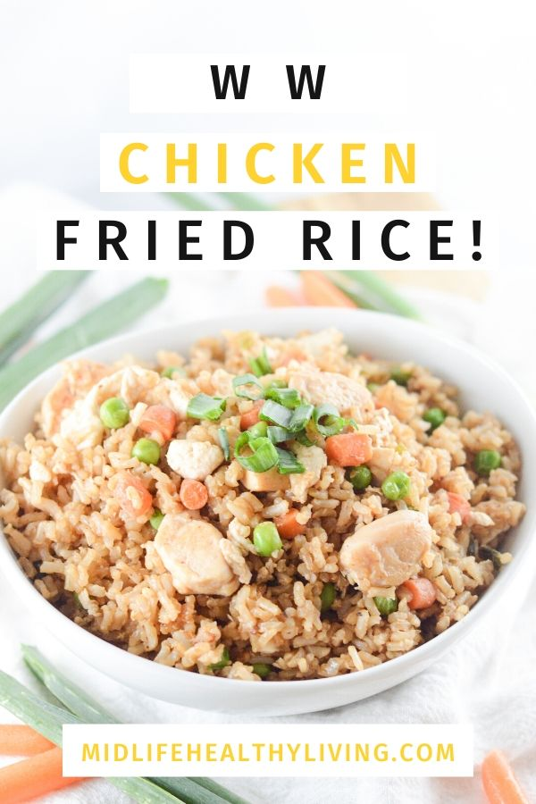 Weight Watchers Chicken Fried Rice Recipe Pin showing the finished recipe.