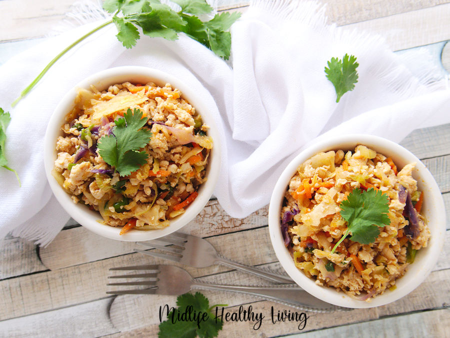 Featured image showing the finished egg roll in a bowl in two dishes ready to be served.