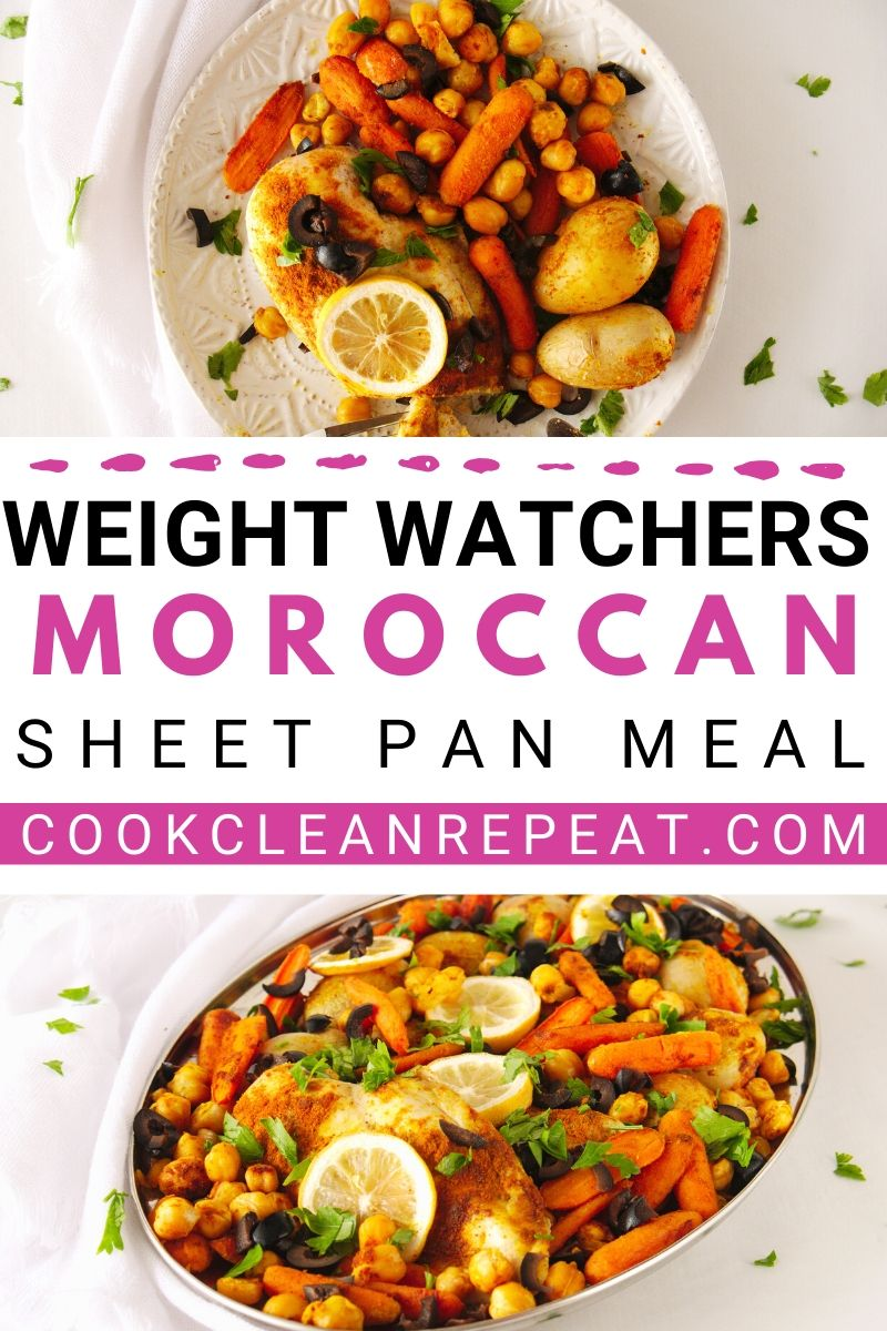 A pin showing the weight watchers moroccan sheet pan meal with title in the middle.