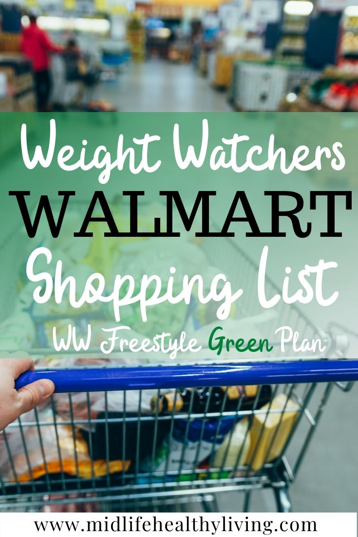 Pin showing the title and the image of a Walmart cart in the background for Weight Watchers foods to buy from Walmart