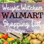 Pin showing the title Weight Watchers foods to buy from Walmart for Purple plan and grocery store in the background.