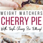 Pin showing the finished cherry pies for Weight Watchers in the Air Fryer