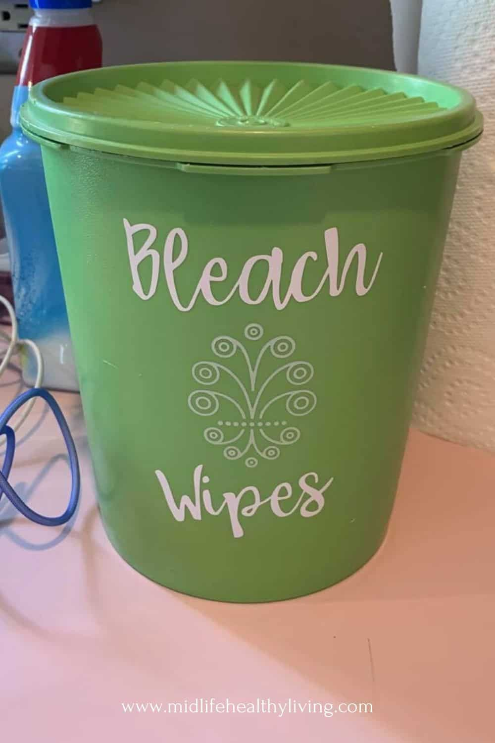 container showing the finished bleach wipes.