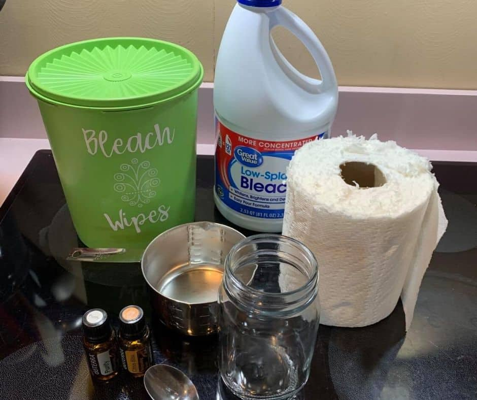 Featured image showing all the ingredients needed to make DIY bleach wipes