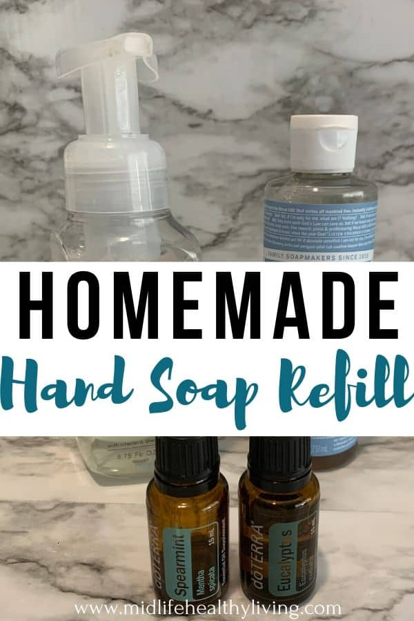 Another pin showing the finished homemade hand soap refill with supplies!
