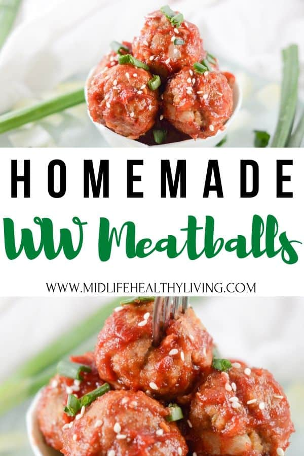This pin shows the finished weight watchers meatballs recipe ready to serve with the title in the middle with WW info.