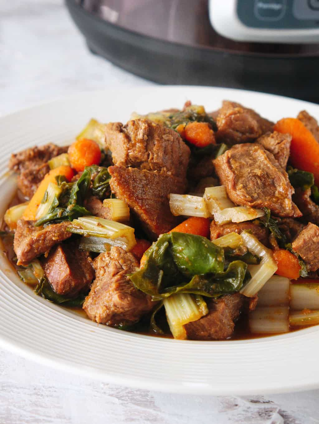 A close up shot of a finished Weight Watchers beef stew with Instant pot in the background.