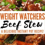 Another pin showing the finished beef stew for Weight Watchers Instant Pot style.