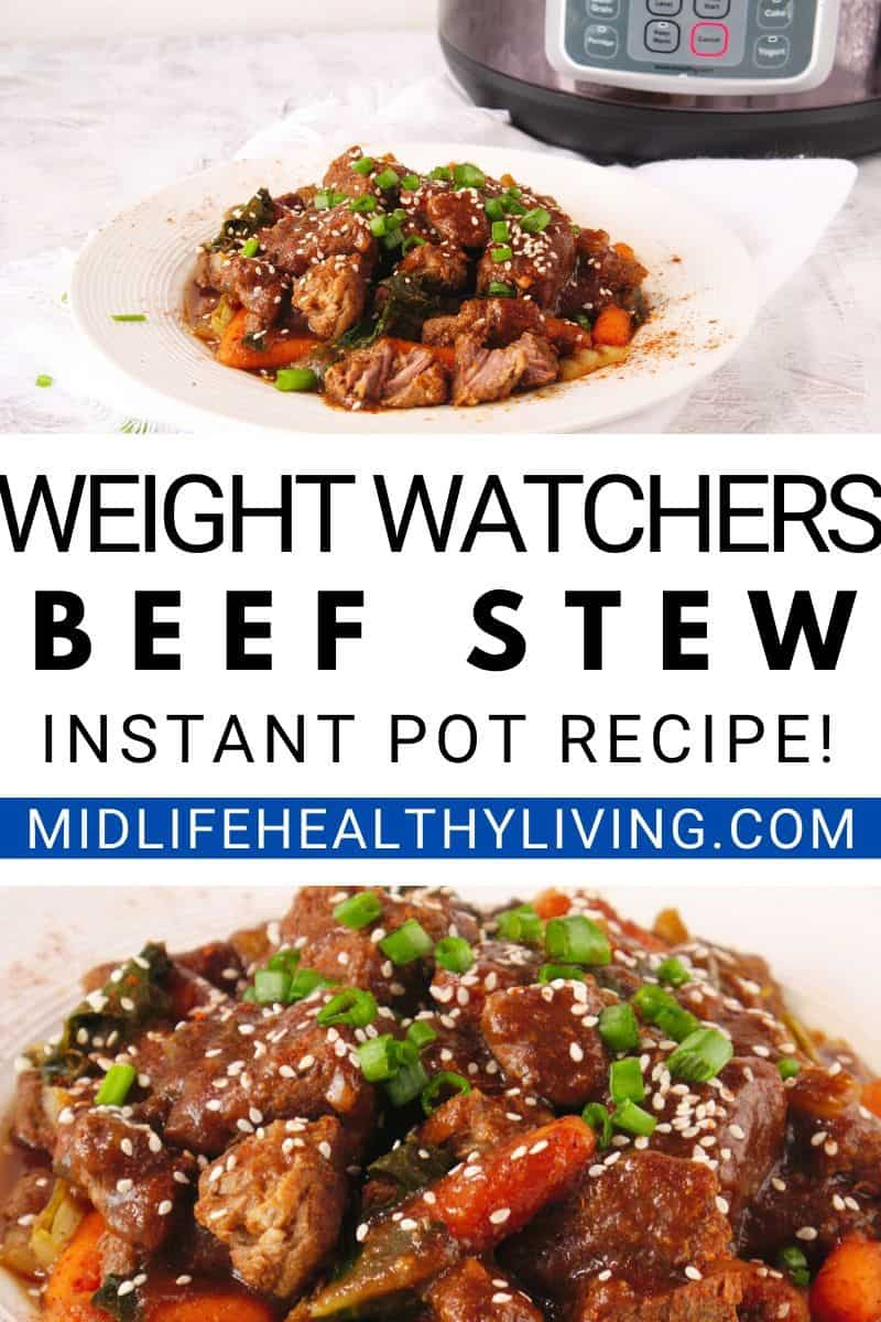A pin showing the finished weight watchers beef stew recipe.