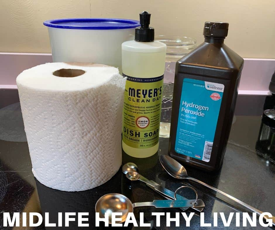 The ingredients for making diy disinfecting wipes with hydrogen peroxide