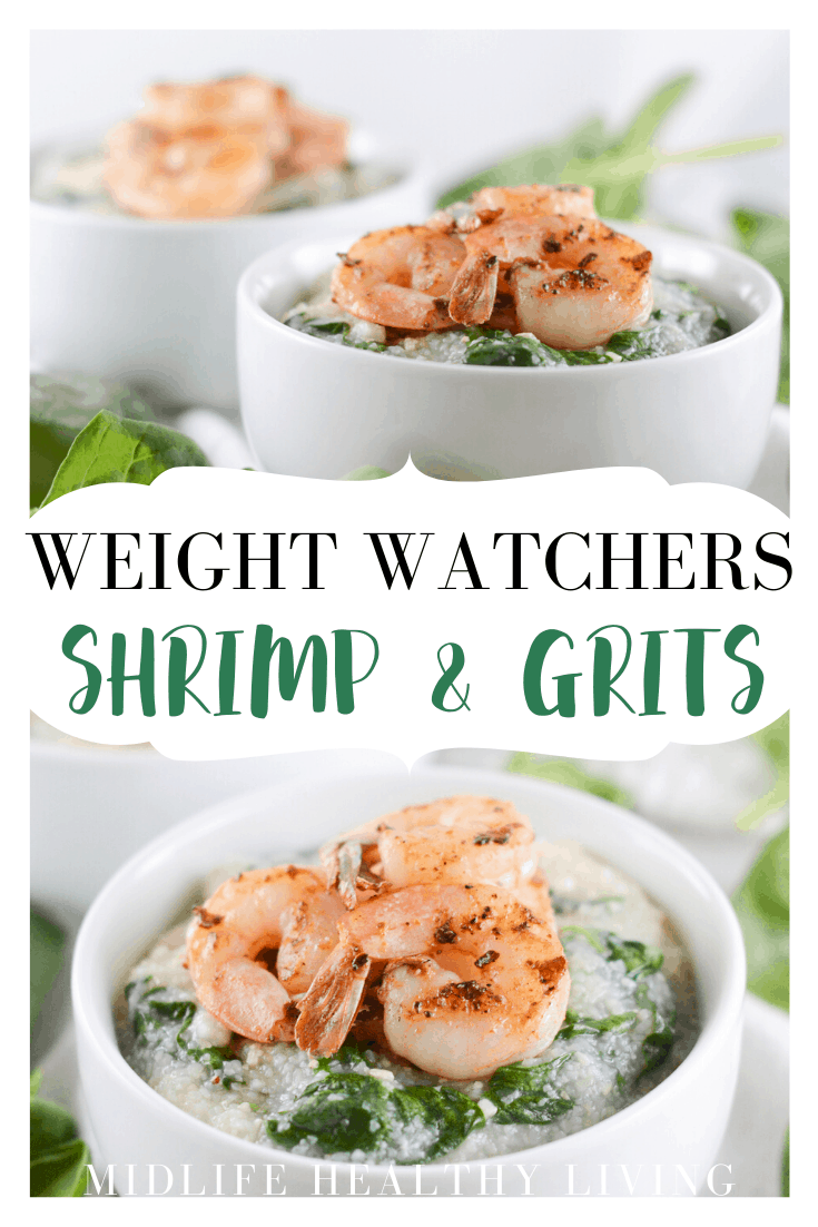 A final pin showing the delicious weight watchers shrimp and grits ready to enjoy.
