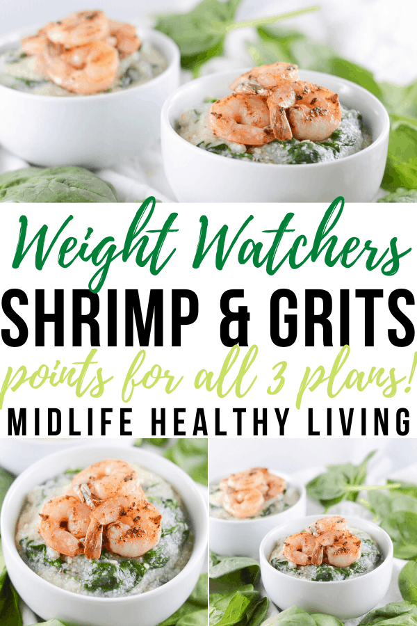 Another pin showing the finished shrimp and grits recipe for Weight Watchers.