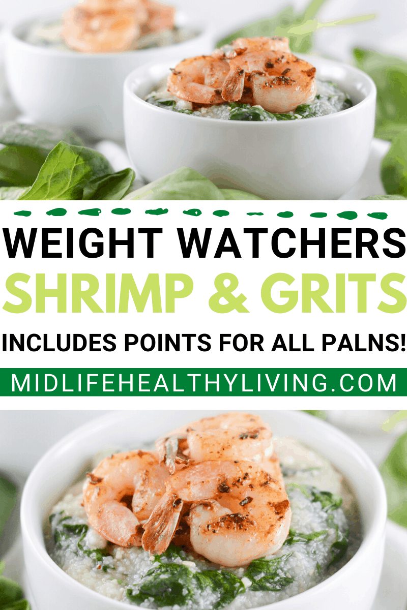 A pin showing the finished shrimp and grits weight watchers points recipe.