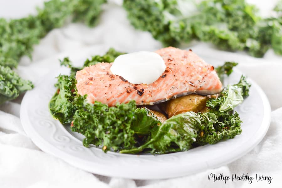 A featured image showing the finished Weight Watchers salmon sheet pan meal plated and ready to enjoy.