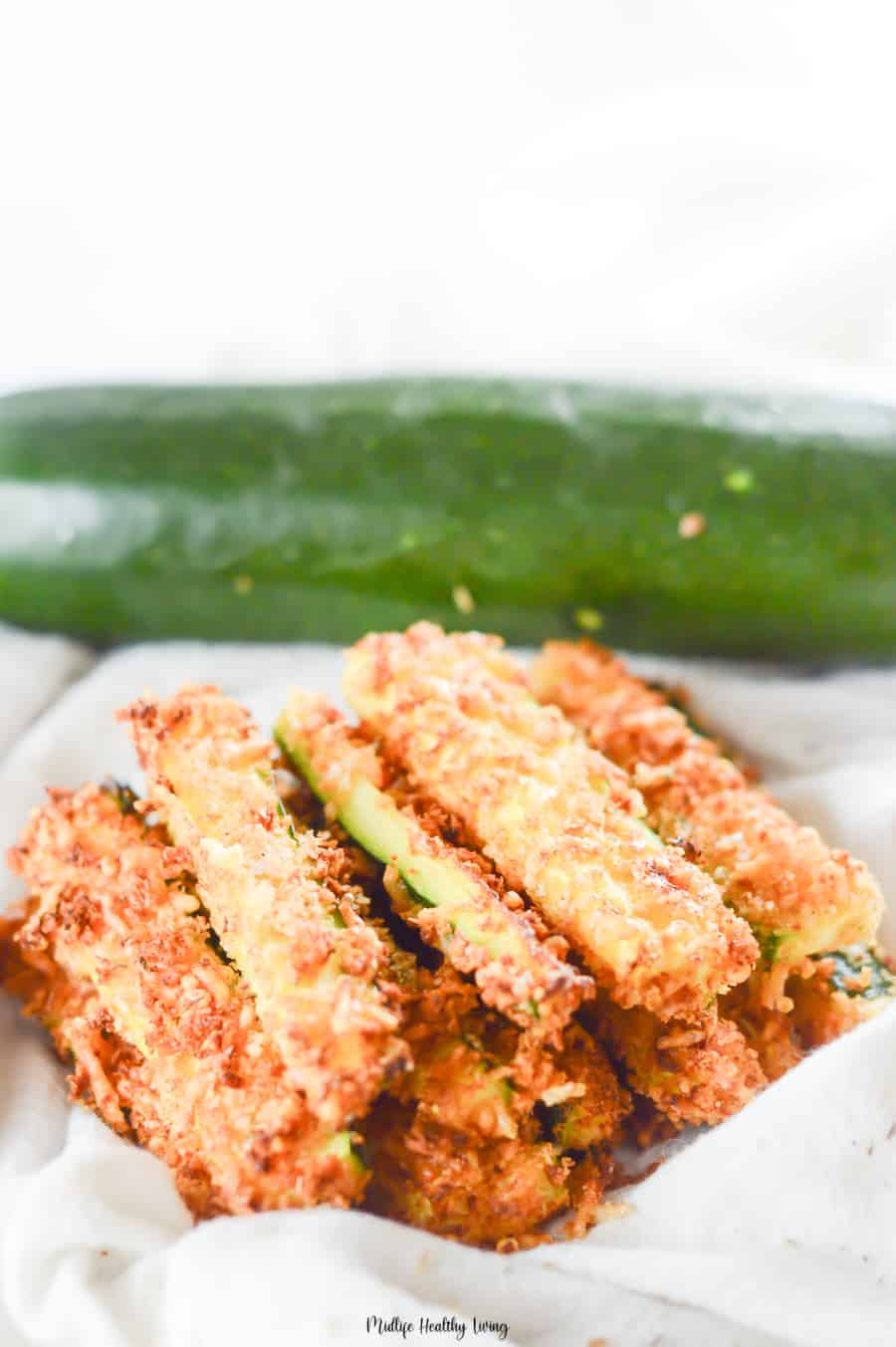 A pile of delicious zucchini fries ready to be shared.