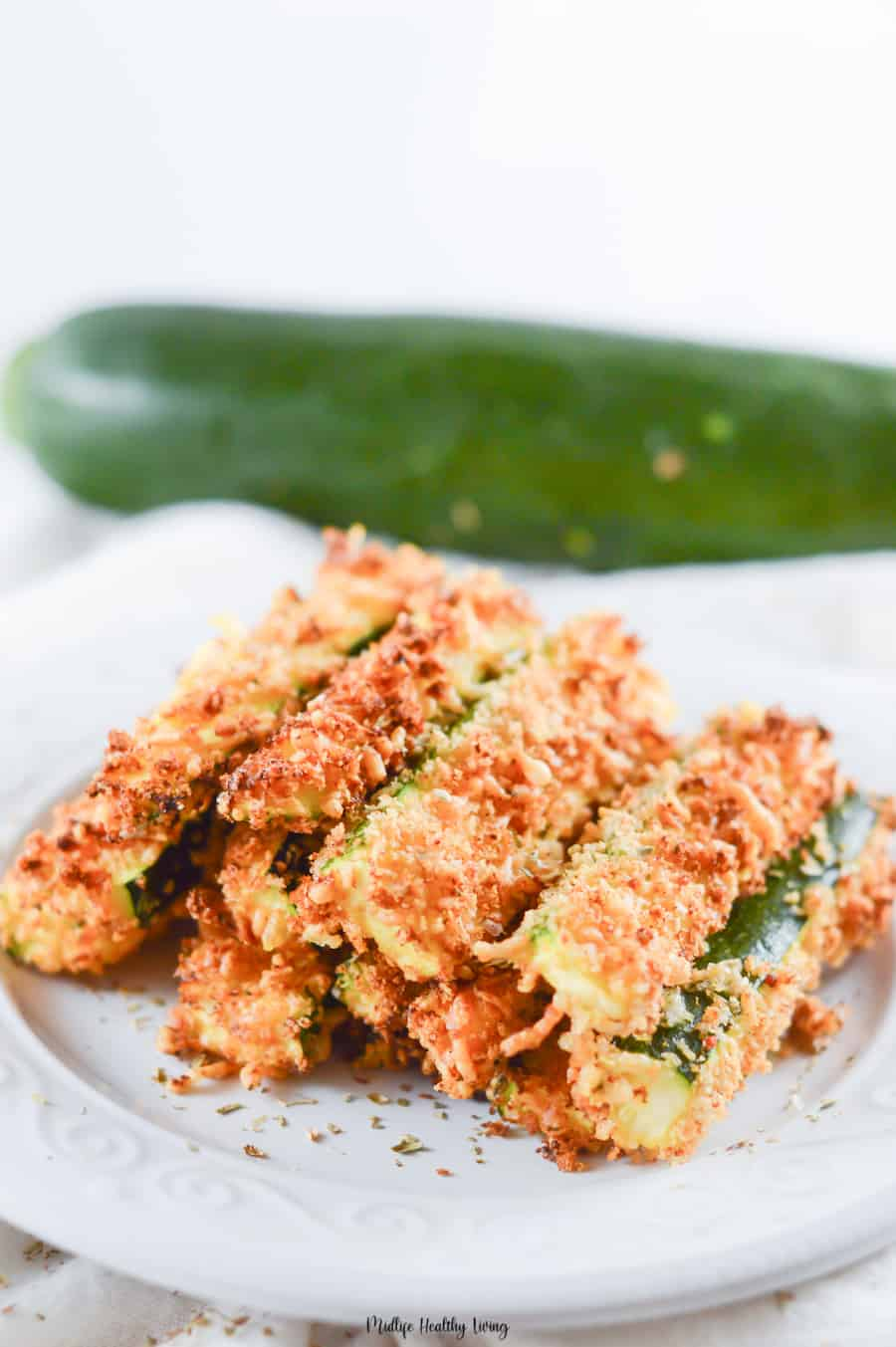 A look at the finished zucchini fries ready to be shared and enjoyed.